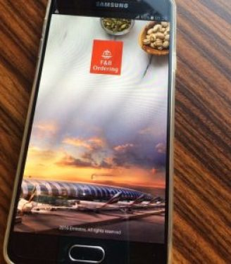 The new Emirates Business Class meal ordering device using a Samsung Galaxy A7