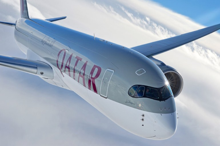 Qatar Airways Airbus A350 in flight