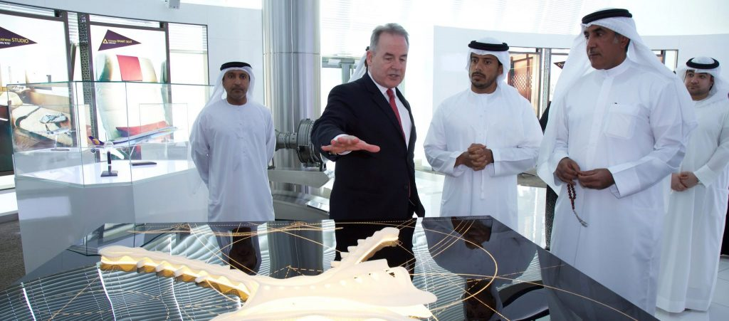 James Hogan, Etihad Airways' President and Chief Executive Officer; His Excellency Sheikh Sultan bin Tahnoon Al Nahyan, Chairman of the Transport Department and member of the Executive Council, Abu Dhabi; and His Excellency Major General Mohammed Khalfan Al Romaithi, Deputy Commander-in-Chief of Abu Dhabi Police and member of the Executive Council; at the Etihad Airways Innovation Centre in Abu Dhabi.