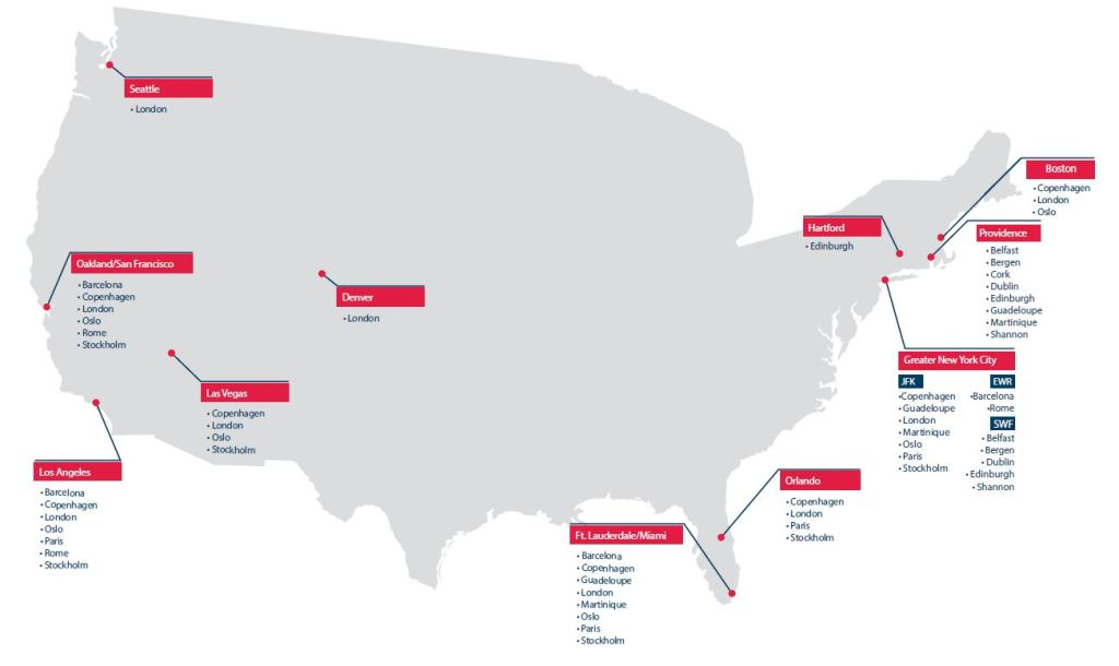 Norwegian's U.S. route network. Photo Credit: Norwegian