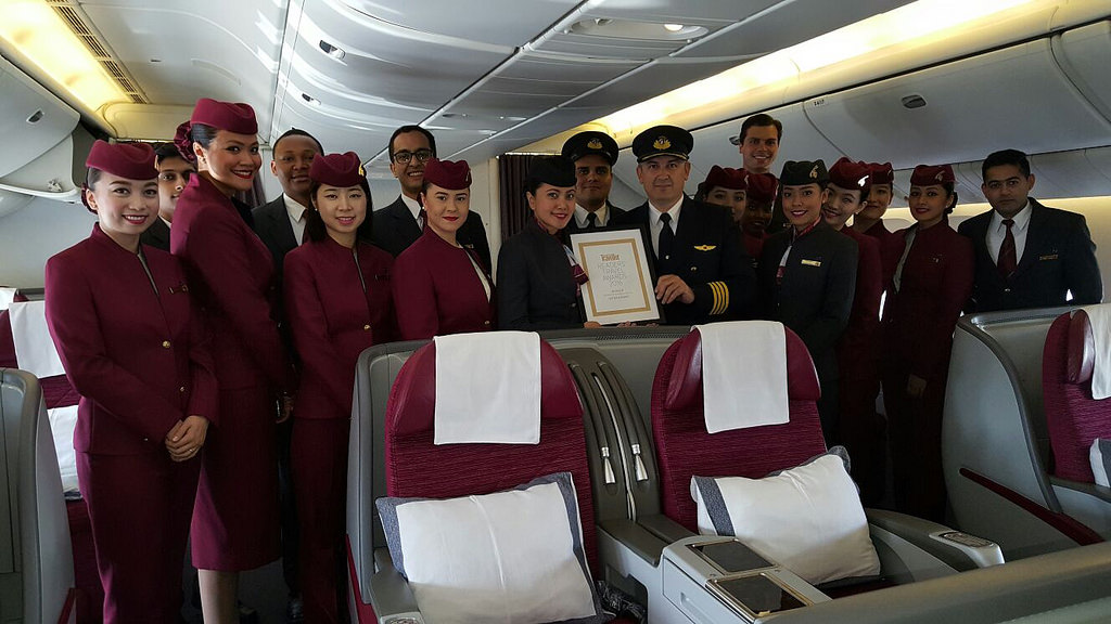 Cabin crew are recruited from around the world. Qatar Airways sponsors employees through the country's visa system. Photo Credit: Qatar Airways