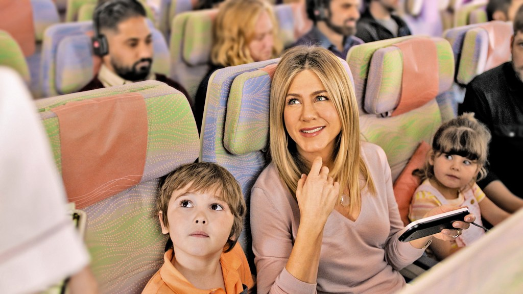 Jennifer Aniston appeared in a recent Emirates commericial to sell the premium nature of the airline's normal Economy experence. Photo Credit: Emirates