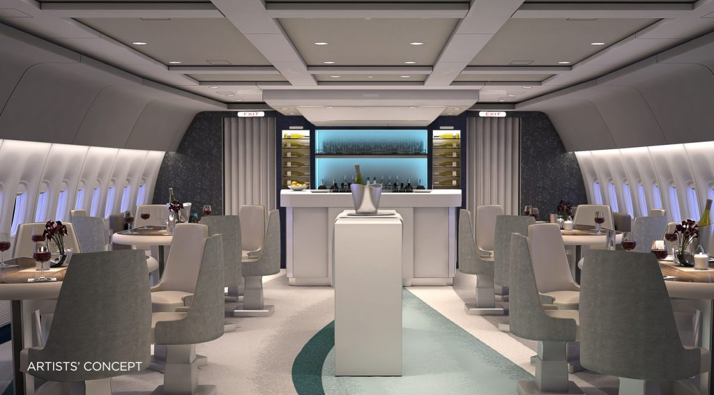 The Crystal Skye features a 'Dedicated Social lounge' for mingling and dining. The fully lie-flat seats were custom designed by aircraft seating experts, Zodiac. Photo Credit: Crystal Cruises