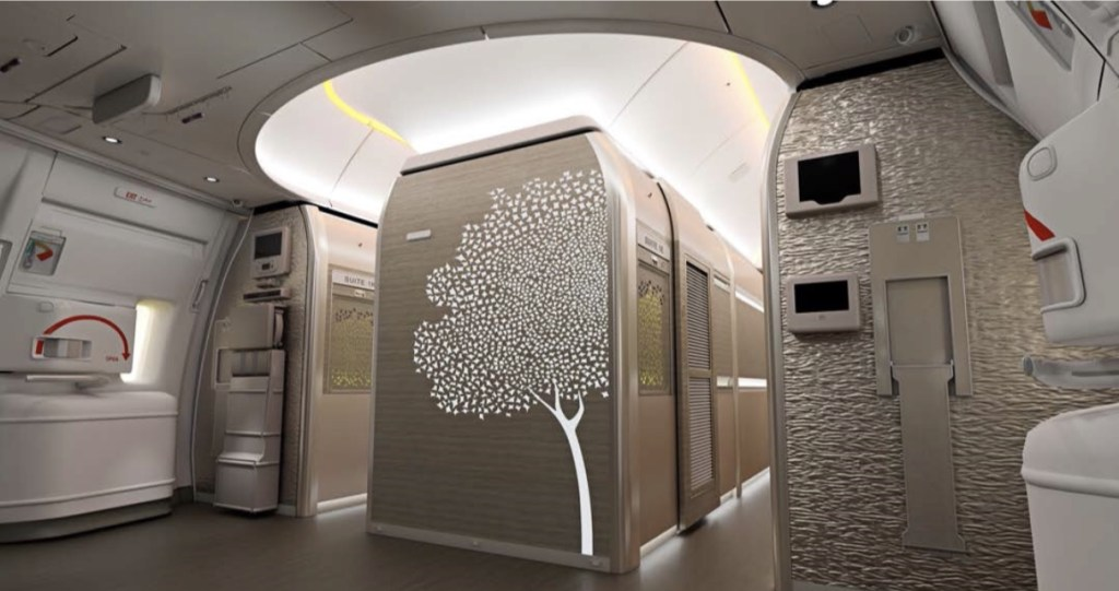 The new First Class foyer area which features a motif of the Ghaf tree - widely considered as the UAE's national tree. Photo Credit: Emirates