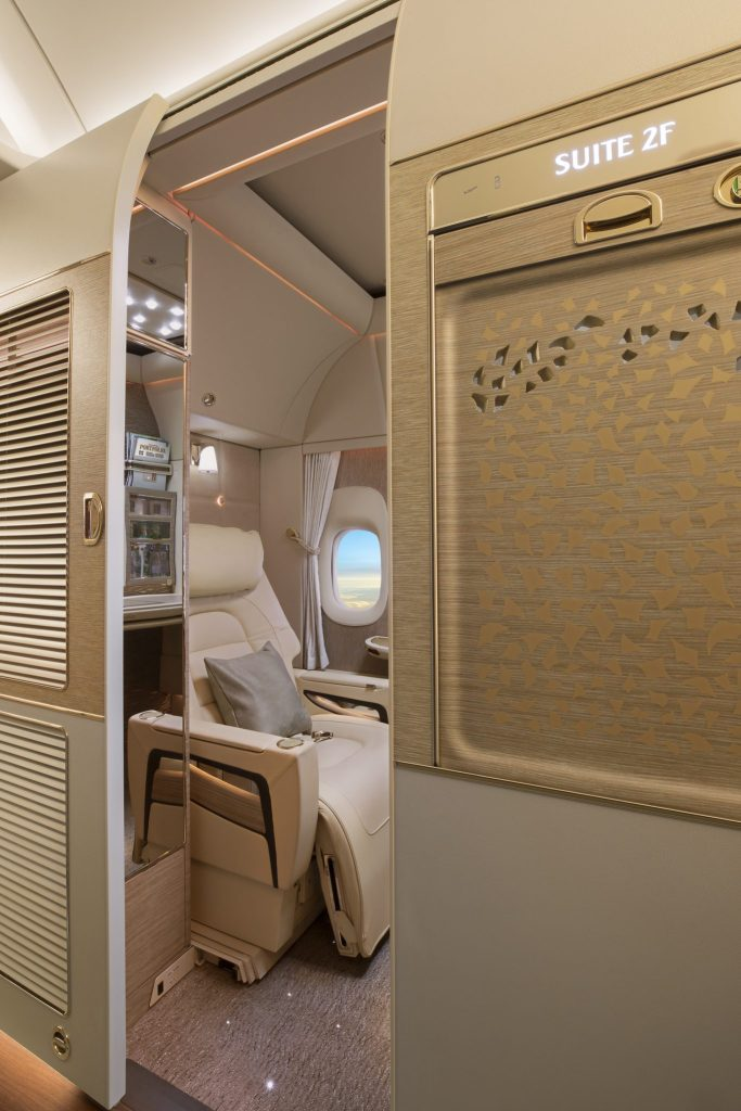 The fully enclosed suites have floor to ceiling sliding doors that are 6ft, 9 iches high. Photo Credit: Emirates