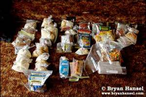 12 days of food using the NOLS ration planning system.