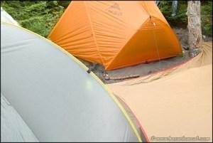 Tents and a tarp on the beach. Lake Nipigon, ON.