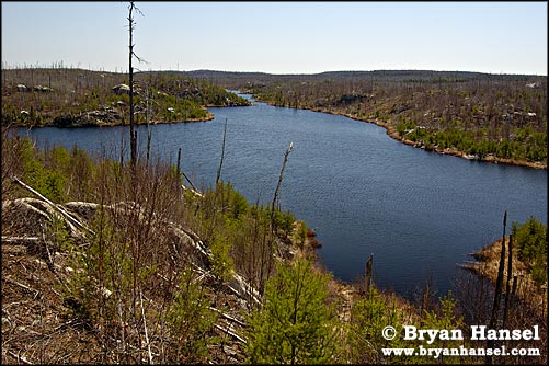 Vern Lake in the Boundary Waters viewed from the Juno-Vern Portage.