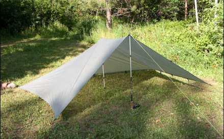 flat tarp setup in a modified pyramid