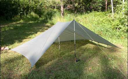 flat tarp setup in a modified pyramid