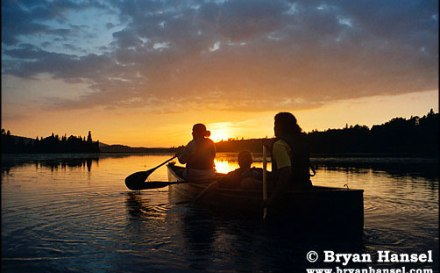 canoeing into the sunset