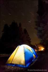 Boundary Waters campsite at night with star trails