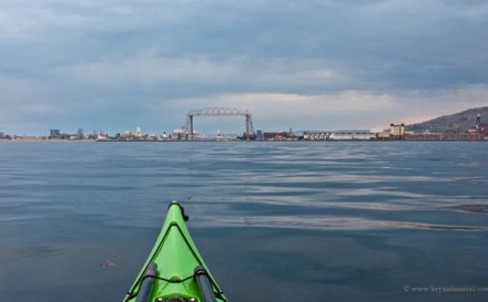 Kayaking. Duluth lift bridge on the horizon.