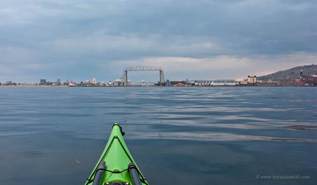 Kayaking. Duluth lift bridge on the horizon.