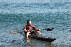 Lake Superior kayaking in a homemade kayak.