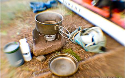 Lightweight kayak camping cook gear