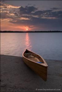 Sunset on Ima Lake over my canoe