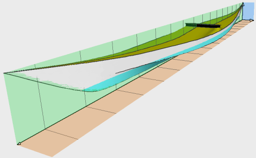 1883 Southwestern kayak 3-D plan view