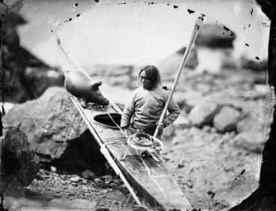 Traditional kayaker