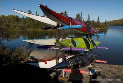 Kayaks on Pigeon River boat ramp.