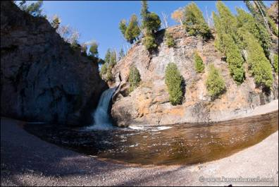 Manitou River beach, waterfall and Lake Superior.