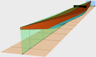 Perspective view of the South Greenland kayak.