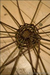 The bottom of a weaved willow basket.