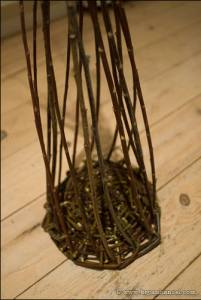 The basic shape of the willow basket takes shape.