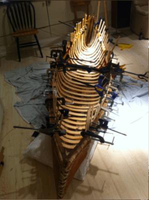 birch bark canoe under construction