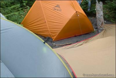 Tents in a tight campsite.