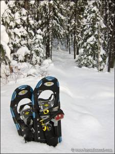 Snowshoes in the snow on the Eagle Mountain Hiking Trail.