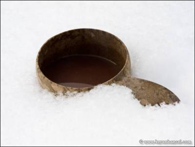 Kupilka full of hot chocolate on Eagle Mountain's summit.