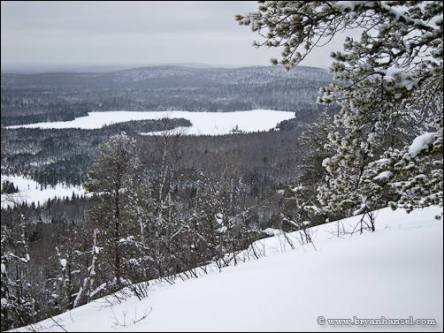 View over Shrike and Zoo lakes from Eagle Mountain, Minn.
