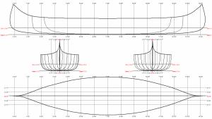 Têtes de Boule Two-Fathom Canoe Linesplan