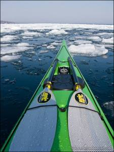 Kayaking in an area of open pack ice.