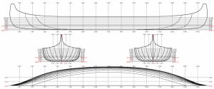Lines plan for the old model ottawa river Algonkin canoe