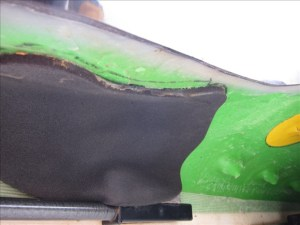 Foam padding used to help fit a kayak