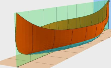 Sample 3d view of a canoe plan