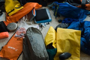 unorganized camping gear