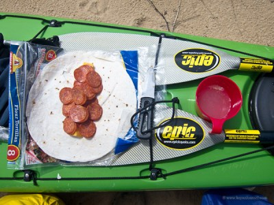 lunch served on the deck of a kayak