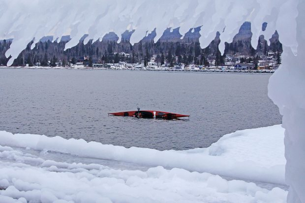 Kayak Rolling in the winter with a Tuilik
