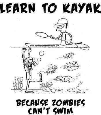 zombie vs. kayaker