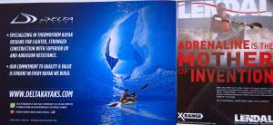 Sea kayak depicted two different ways. On the left, it's about relaxing, unusual exploration and discovery. On the right, it's about hard-core adrenaline, which is anything but relaxing.