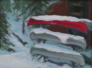 snowbirds winter canoe painting