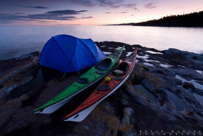 kayak campsite on Lake Superior