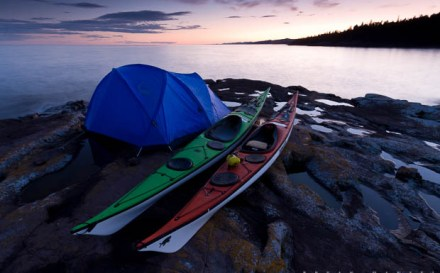 kayak campsite on Lake Superior
