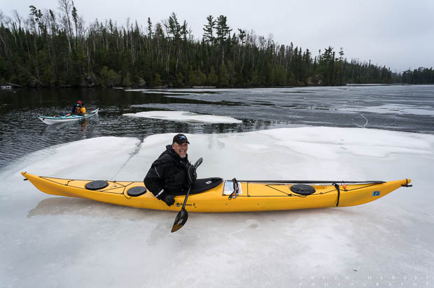spring kayaking on Brule Lake with ice