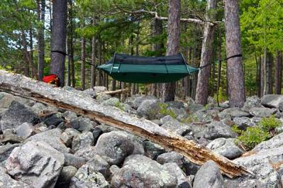 hammock hanging in the rocky woods