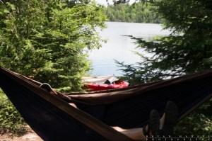 person sitting in hammock in the BWCA