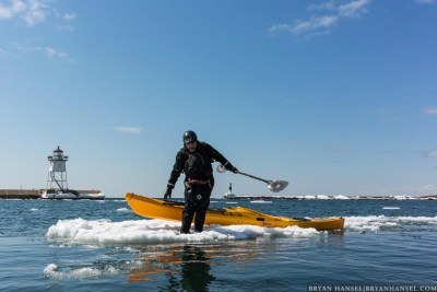 winter kayaking on lake superior